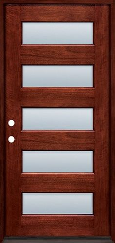 Modern 5-Lite Mahogany Prehung with Mahogany Jambs Wood Door Unit #43