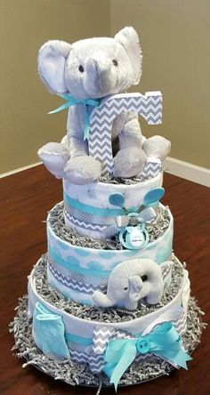 Elephant diaper cake, baby boy,  baby shower gift! Check out my Facebook page Simply Showers https://m.facebook.com/adorablegifts