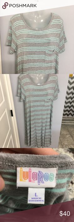 Gray and Aqua Stripped LulaRoe Carly Size L Only worked twice. Has a high low hemline and pocket detailing. Size L. Great basic LuLaRoe Dresses