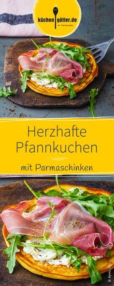 Die herzhafte Version des süßen Pfannkuchen-Klassikers wird mit frischem Rucola, würzigem Parmaschinken und einer feinen Käsecreme belegt.