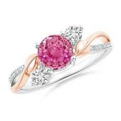Pink Sapphire and Diamond Twisted Vine Ring in 14K White and Rose Gold (6mm Pink Sapphire) >>> To view further for this article, visit the image link. #Rings