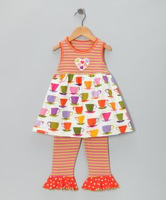 Take a look at this Orange Stripe Teacup Swing Top & Capri Pants - Toddler & Girls by Flared & Fabulous: Girls' Sets on #zulily today!