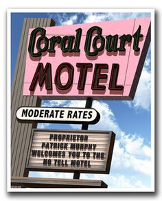 Personalized Coral Court Route 66 Retro Art Print by FantaSigns