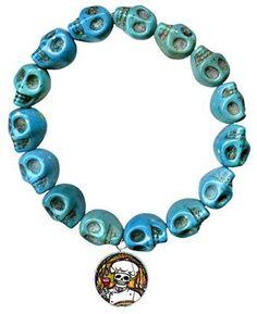 Dead Head Chef Charm Turquoise Howlite Stone Skulls Stretch Bracelet