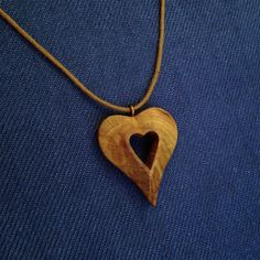 Hand Carved Hardwood Apricot Tree Heart Pendant - wood carved pendant, natural jewelry, organic jewelry, pendant, necklace pendant, heart by VanDenArt on Etsy