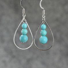 Turquoise tear drop Hoop Earrings handmade ani designs