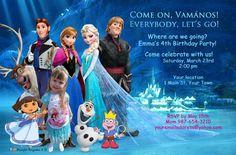 Unique Frozen & Dora Personalized Photo Birthday Celebration Invitation Invite