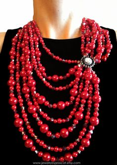 VINTAGE Statement Necklace Red Broach Antique by JewelryByJessicaT, $100.00
