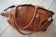 Brown big leather bag to keep all the stuff we women love !