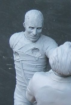 Shots of the in progress sculpture by Robert Price of The Mummy coming from Resin Crypt.