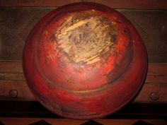 "Large Old 17 1 4"" Early Primitive Antique Dough Bowl Red Paint"
