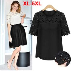 XXXXXL Plus Size Fat Women Clothes Summer New 2014 Europe and America Chiffon Shirts Lace Blouses Female Tops Tees 5XL/4XL TS018