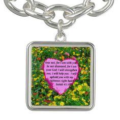 ISAIAH 41:10 WILDFLOWER PHOTO DESIGN CHARM BRACELETS Inspiring and uplifting Christian Jewelry.  http://www.zazzle.com/myheavenlyblessings/jewelry?dp=252880112189019707&rf=238246180177746410 #ChristianJewelry #Christiangifts #Scripturejewelry #Scripturegifts #Bornagain #JesusisLord