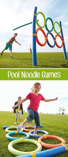 Over 30 of the BEST Backyard Games. These backyard games are great for kids but make for great outdoor games for adults also. Have fun! Pool Noodle Games, Noodles Games, Pool Noodles, Pool Noodle Crafts, Pool Party Games, Toddler Party Games, Outdoor Games For Kids, Outdoor Play, Party Outdoor