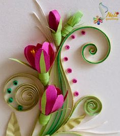 Quilled flowers and swirly fronds.