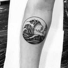 Circle Simple Wave Inner Forearm Tattoos For Guys