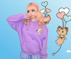 Moon theme hoodie by Japanese fairy kei brand Milklim with thick fleece lining, kangaroo pocket and large bow print on the back. Size guide: Japanese one size. Would best fit a western size S-M. Will fit up to a UK Harajuku Girls, Harajuku Fashion, Kawaii Fashion, Liz Lisa, Sanrio Hello Kitty, Little Twin Stars, Japanese Outfits, Kawaii Clothes, Japanese Street Fashion