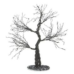 Halloween Table Decoration: Black Wire Tree with Glitter