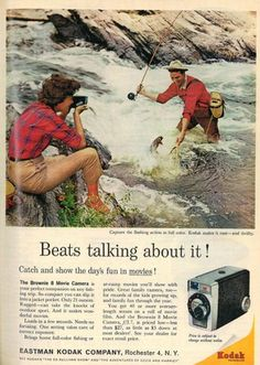The ad says it all. Me, my son, and one of my daughters would rather pull em in than talk about it. A family that fishes together will eat hearty.(JMH). vintage fishing ads - Google Search