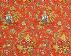 Composition : Papier Gasaki W 4516003 Pierre Frey Colour: Red curry Style: Chinoiserie Type: Historical documents, Small motifs vertical repeat wide Pierre Frey, Bathroom Wall Colors, Flower Pattern Design, Old Wallpaper, Chinoiserie Wallpaper, Interior Design Work, Cool Lighting, Decoration, Home Accessories