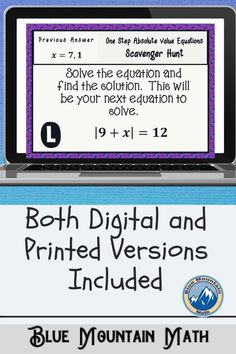 Looking for a fun, engaging activity that gets the kids moving and talking about math? In this resource, students practice solving one step absolute value equations and you can choose between a printed activity or digital (self-grading) activity. The printed activity works great in the classroom while the digital activity can be used for distance learning or absent students.