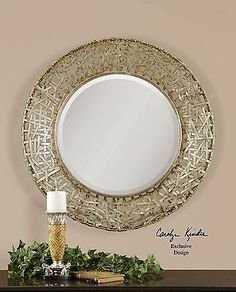 """""""The warm champagne silver finish on the Alita Woven Metal Mirror has a perfect patina giving it a soft, lovingly aged appeal. This look works in any environment from Rough Luxe to Loft and the woven texture is ideal for today's Modern Country Home. Metal Mirror, Round Wall Mirror, Beveled Mirror, Round Mirrors, Wall Mirrors, Mirror Glass, Bathroom Mirrors, Mirror Mirror, Modern Bathroom"""