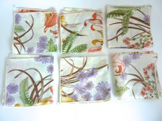6 Print Cocktail Napkins by BonniesVintageAttic on Etsy, $24.00