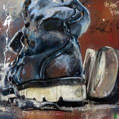 CECILE DESSERLE My shoes N°2 Oil on canvas format 80 x 80 cm   Cécile Desserle - Site Officiel