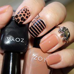 tan and black nail art by jarynails #fav