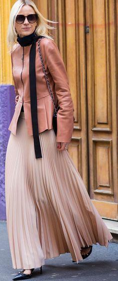 Nude Pleated Maxi Skirt