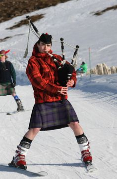 Skiing kilt - love it,, how great the bagpipes must sound out in the mountains...