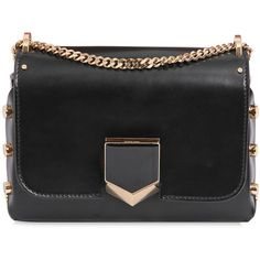 Jimmy Choo Women Lockett Petit Leather Shoulder Bag (1 733 AUD) ❤ liked on Polyvore featuring bags, handbags, shoulder bags, black, chain strap purse, jimmy choo purses, leather shoulder bag, genuine leather purse and leather handbags