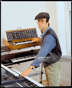 Manfred Mann, portrait, in studio with synthesizers including his ever-present Minimoog, 1991.