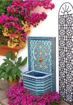nice How pretty is this Moroccan outdoor fountain! Moroccan Garden, Moroccan Decor, Moroccan Interiors, Garden Fountains, Wall Fountains, Outdoor Fountains, Dream Garden, Islamic Art, Garden Furniture
