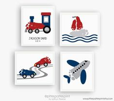 DIY your photo charms, 100% compatible with Pandora bracelets. Make your gifts special. Make your life special! Transportation Art Print Set, Train, Airplane, Car, Sailboat Nursery Wall Decor, Baby Footprints, Personalized Boys Room, 5x7, 8x10 or 11x14