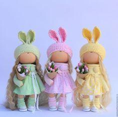 Коллекционные куклы ручной работы. Весенние зайки. Irina Berezhnaya. Интернет-магазин Ярмарка Мастеров. Зеленый, куколка, для девочки, тюльпаны