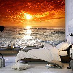 Uno de los fotomurales adhesivos más hermosos es el Fotomural de Atardecer en la Playa, excelente para colocarlo en el dormitorio, con su paisaje podrá rela