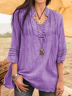 Sleeves V Neck Plain Blouse – immorgo Shirts & Tops, Women's Tops, Shirt Bluse, T Shirt, Linen Tshirts, Lace Shirts, Stand Collar Shirt, Collar Shirts, Holiday Fashion