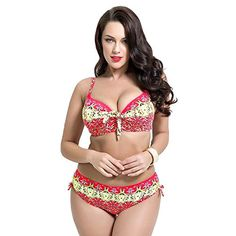 f66eb732465f8 Runbox Womens Push up Beachwear Retro Print Patterns Bikini Bathing Suit M  pink  gt  gt