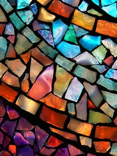 Marbleized Stained Glass window looks very fluid because of the gradient look in each color. Mosaic Art, Mosaic Glass, Mosaic Tiles, Fused Glass, Mosaic Stairs, Mosaic Mirrors, Clear Glass, Stained Glass Art, Stained Glass Windows