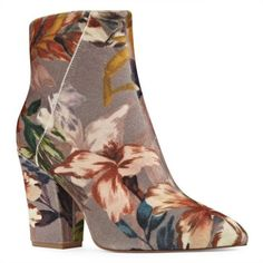 Nine West  Savita Printed Velvet Bootie ($119) ❤ liked on Polyvore featuring shoes, boots, ankle booties, taup mu fb, short boots, nine west boots, floral print boots, taupe ankle boots and velvet boots