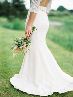 Bride in Lace Gown   photography by http://marinakoslowphotography.com