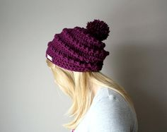 Hey, I found this really awesome Etsy listing at https://www.etsy.com/listing/120305462/womens-hat-pom-pom-slouchy-hat-for-her
