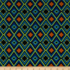Stretch Jersey Knit Diamonds Blue/Orange