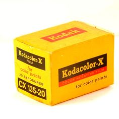 A great vintage Kodak roll of film! This is a Kodak Kodacolor-X CX 135-20 roll of film for color prints, in unopened box, in good condition. ASA 80, 20