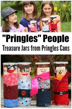 Pringles People Craft - Treasure Jar Pringle's Can Craft Pringles Dose, Pringles Can, Recycling For Kids, Diy For Kids, Crafts For Kids, Summer Crafts, Craft Activities, Preschool Crafts, Easy Crafts