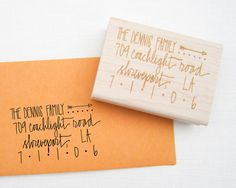 Custom Address Stamp 2 1/4 hand calligraphy return by papersushi
