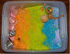 Montessori-Inspired Rainbow Activities and Rainbow Blog Hop (Photo from http://www.homeschoolmo.com/2012/03/montessori-mondayrainbow-sensory-tub.html Roundup Post from http://livingmontessorinow.com/2012/04/26/montessori-inspired-rainbow-activities-and-rainbow-blog-hop/)