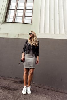Jersey Dress & Moto Jacket