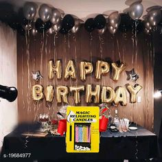 Gifts & Mugs Happy Birthday Gold Letter Foil Balloons + 2 Star Silver (10inch) + 30pcs Black, Silver Balloons + 10 pcs Magic Candles  Happy Birthday Gold Letter Foil Balloons + 2 Star Silver (10inch) + 30pcs Black, Silver Balloons + 10 pcs Magic Candles Sizes Available: Free Size   Catalog Rating: ★4.2 (1202)  Catalog Name: Check out this trending catalog CatalogID_4068720 C127-SC1268 Code: 972-19684977-738